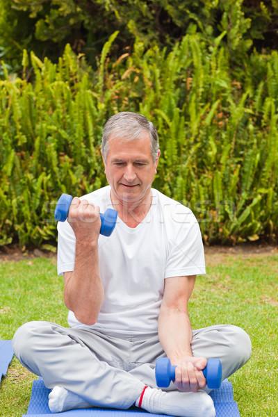 Emekli adam bahçe sağlık park kişi Stok fotoğraf © wavebreak_media
