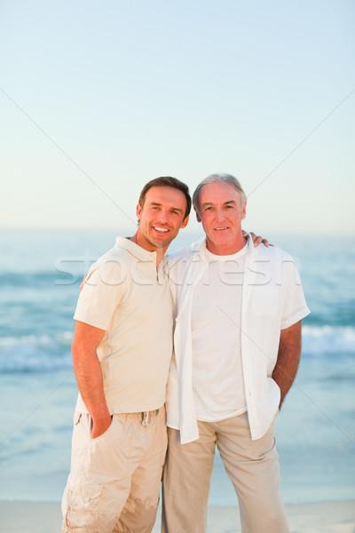 Сток-фото: отцом · сына · пляж · семьи · закат · морем · океана