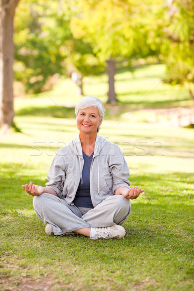 Olgun kadın yoga park kadın sağlık Stok fotoğraf © wavebreak_media