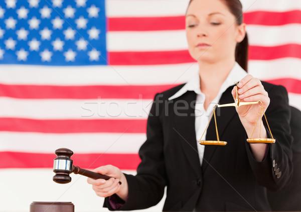 молодые судья молоток Весы Сток-фото © wavebreak_media