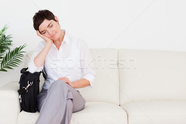 Yorgun işkadını bekleme odası kadın çiçek Stok fotoğraf © wavebreak_media