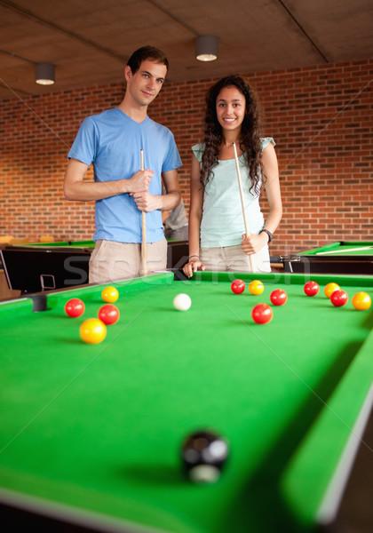 Retrato estudantes em pé piscina casal Foto stock © wavebreak_media