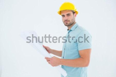 Portré építész mutat valami fehér üzlet Stock fotó © wavebreak_media