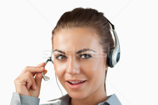 говорить женщины Call Center агент белый Сток-фото © wavebreak_media