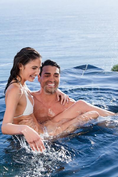 Ritratto uomo moglie piscina acqua Foto d'archivio © wavebreak_media