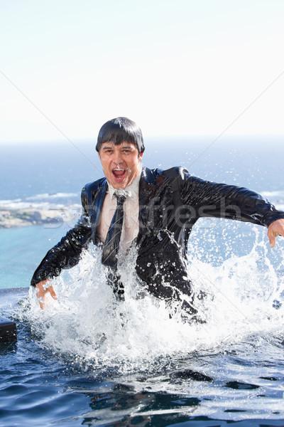 Сток-фото: портрет · бизнесмен · из · воды · Бассейн · работу