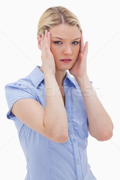 女性 頭痛 白 背景 悲しい ストレス ストックフォト © wavebreak_media