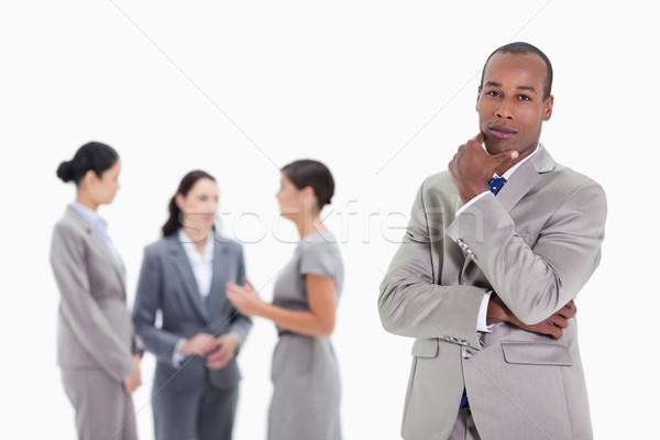 Stock fotó: Közelkép · üzletember · kéz · áll · három · munkatársak