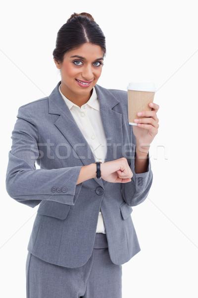 Sonriendo femenino papel taza tiempo Foto stock © wavebreak_media