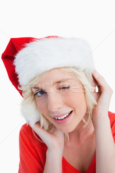 Jeunes femme blonde oeil Noël Photo stock © wavebreak_media