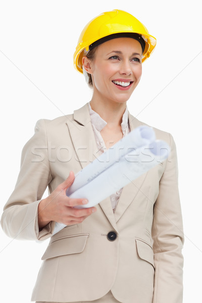 Gülümseyen kadın takım elbise kask beyaz iş Stok fotoğraf © wavebreak_media