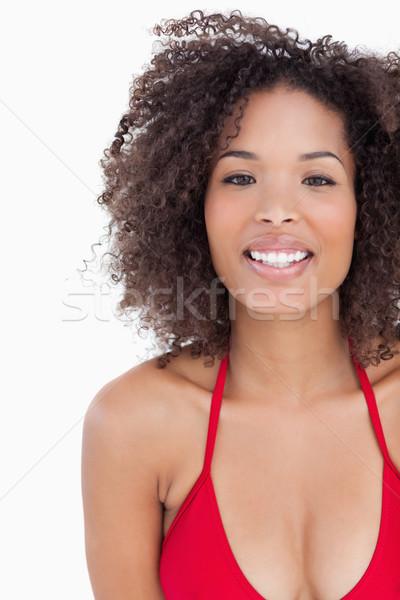 Mosolyog barna hajú bámul kamera fehér áll Stock fotó © wavebreak_media