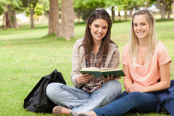 Female teenagers sitting with a textbook in a park while looking at camera Stock photo © wavebreak_media