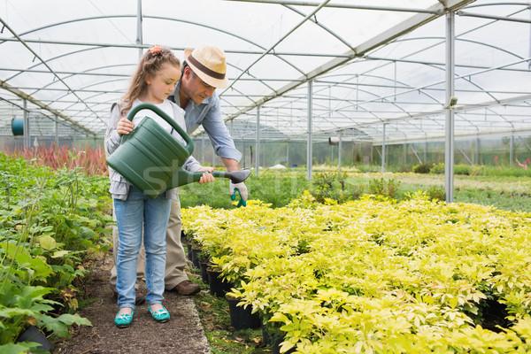 Tuinman helpen planten broeikas meisje Stockfoto © wavebreak_media
