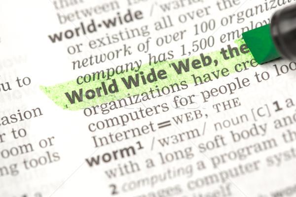 World Wide Web Bestimmung grünen Wörterbuch Informationen Studium Stock foto © wavebreak_media