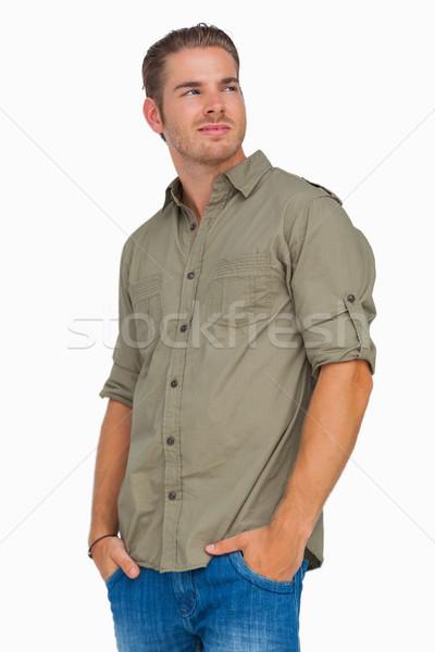 Férfi mosolyog másfelé néz fehér férfi farmer Stock fotó © wavebreak_media
