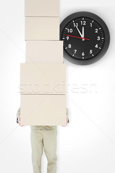 összetett kép futár hordoz egymásra pakolva dobozok Stock fotó © wavebreak_media