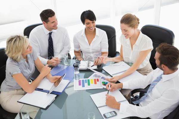 Fiatal jólöltözött üzletemberek megbeszélés megbeszélés fényes Stock fotó © wavebreak_media