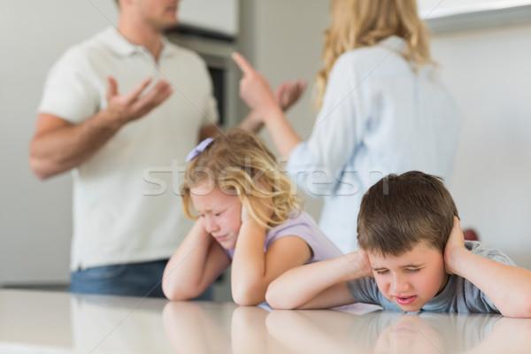 Gyerekek fülek szülők veszekedik kezek otthon Stock fotó © wavebreak_media