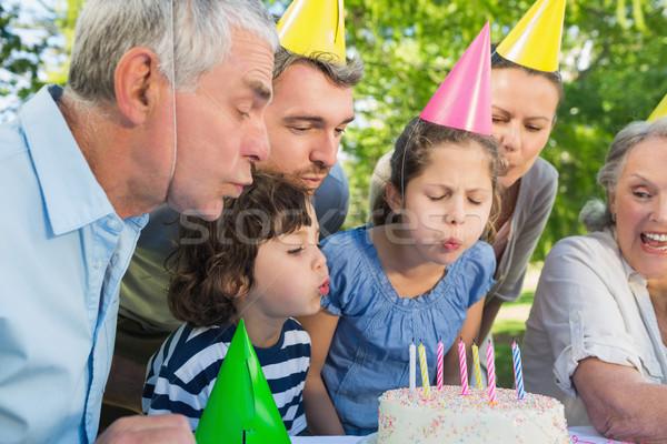 Familia ampliada fiesta pastel de cumpleanos alegre Foto stock © wavebreak_media