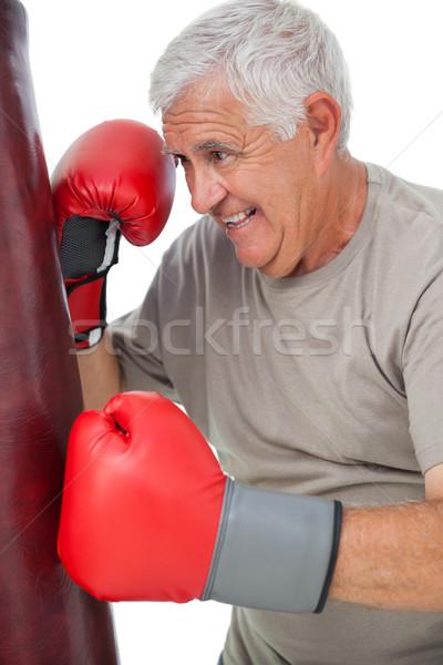 Retrato determinado senior boxeador branco mãos Foto stock © wavebreak_media