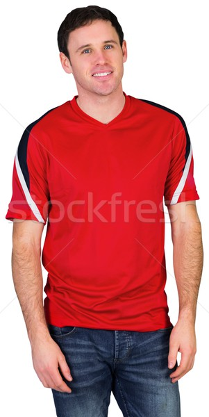 Gelukkig voetbal fan Rood witte man Stockfoto © wavebreak_media