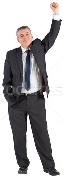 Dojrzały biznesmen ramię w górę biały Zdjęcia stock © wavebreak_media