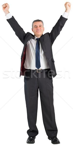 Volwassen zakenman juichen armen omhoog witte Stockfoto © wavebreak_media