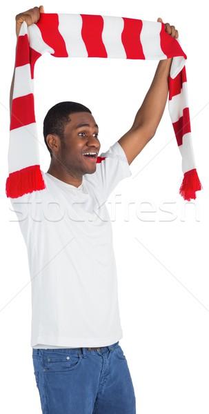 Stock fotó: Boldog · futball · ventillátor · integet · sál · fehér