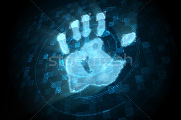 Dijital güvenlik el baskı taramak mavi Stok fotoğraf © wavebreak_media
