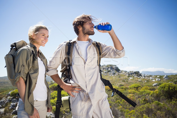 Turystyka para stałego górskich teren Zdjęcia stock © wavebreak_media