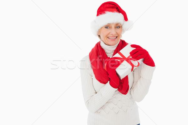 женщина улыбается камеры подарок белый Сток-фото © wavebreak_media