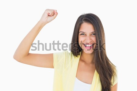 Heureux femme caméra blanche Photo stock © wavebreak_media