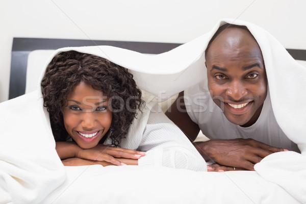 Gelukkig paar bed samen home slaapkamer Stockfoto © wavebreak_media