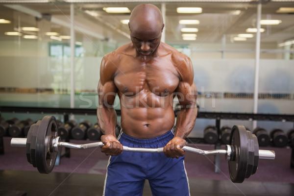 筋肉の 男 バーベル ジム シャツを着ていない ストックフォト © wavebreak_media