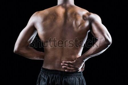 Középső rész póló nélkül izmos férfi fehér törölköző Stock fotó © wavebreak_media
