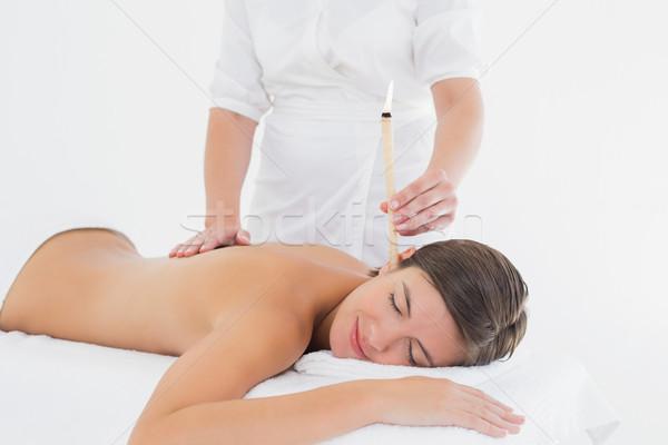 Bella donna orecchio candela trattamento spa centro Foto d'archivio © wavebreak_media