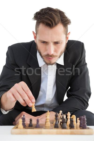 Fókuszált üzletember játszik sakk üzlet divat Stock fotó © wavebreak_media