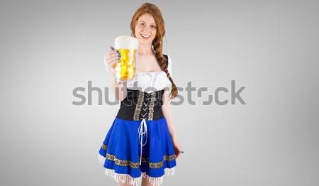 Oktoberfest dziewczyna uśmiechnięty kamery piwa Zdjęcia stock © wavebreak_media