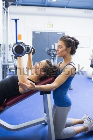 Fitt nő futópad beszél személyi edző tornaterem Stock fotó © wavebreak_media
