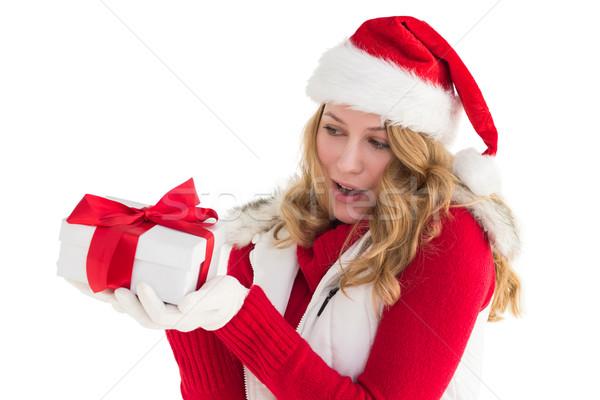 驚いた ブロンド サンタクロース 帽子 ギフト ストックフォト © wavebreak_media