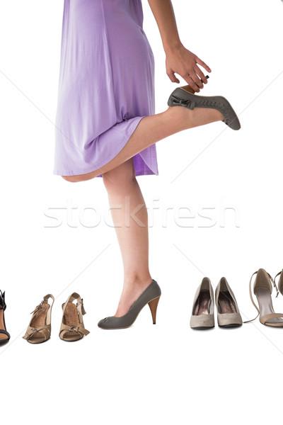 Stock fotó: Középső · rész · nő · sarkak · fehér · női · fehér · háttér