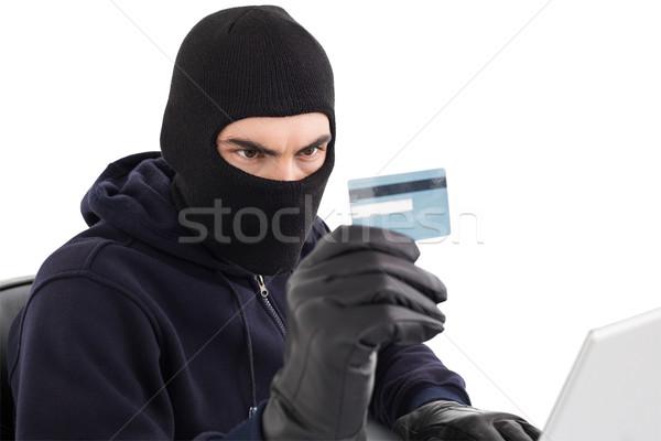 Scassinatore carta di credito laptop bianco computer shopping Foto d'archivio © wavebreak_media