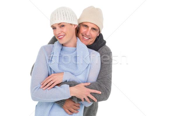 Toevallig paar warme kleding witte vrouw liefde Stockfoto © wavebreak_media
