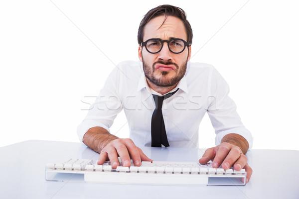 бизнеса работник очки для чтения компьютер белый человека Сток-фото © wavebreak_media