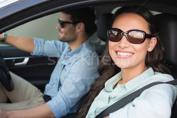 Estrada trio carro feminino sorridente Foto stock © wavebreak_media