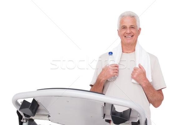 старший человека бегущая дорожка белый воды счастливым Сток-фото © wavebreak_media