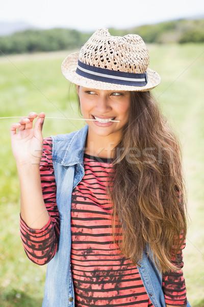 довольно брюнетка парка трава счастливым Сток-фото © wavebreak_media
