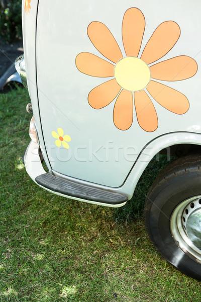 Bloem sticker kant van auto zomer Stockfoto © wavebreak_media