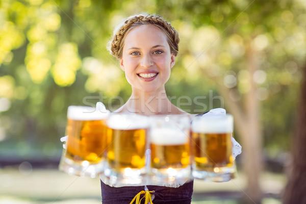 Mooie oktoberfest blond vrouw Stockfoto © wavebreak_media